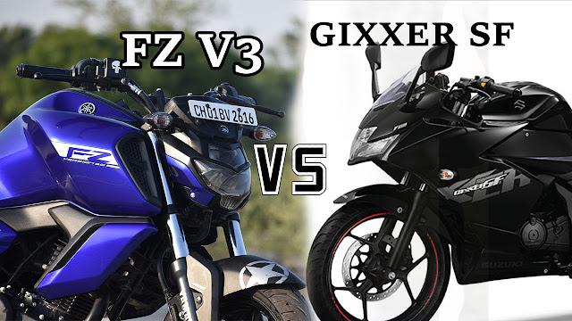 YAMAHA FZ V3 VS SUZUKI GIXXER SF 150 DETAIL COMPARISON
