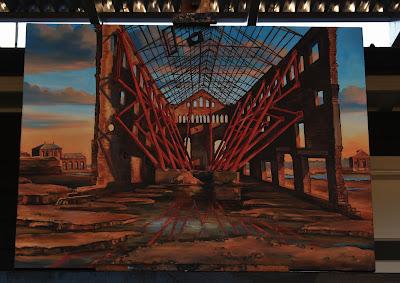 Plein air oil painting of ruined CWG Building AGL Gasworks Mortlake (now Breakfast Point) painted by industrial heritage artist Jane Bennett