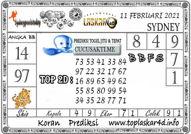 Prediksi Togel SYDNEY LASKAR4D 11 FEBRUARI 2021