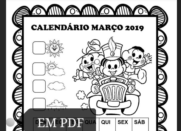Calendários março 2019 com e sem numeração Turma da Mônica para imprimir.