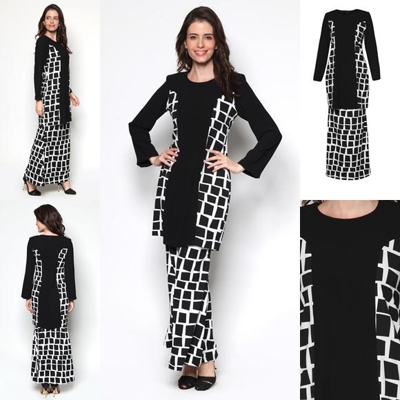 Fesyen Baju Kurung Moden Terkini Black White Monochrome Sakura By Butik Sireh Pinang