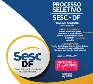 Inscrição Processo Seletivo SESC/DF-Serviço Social do Comércio: