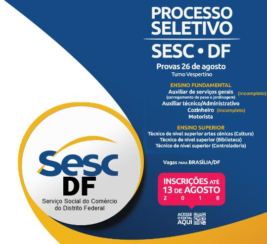 SESC/DF abre inscrições para processo seletivo em 7 cargos