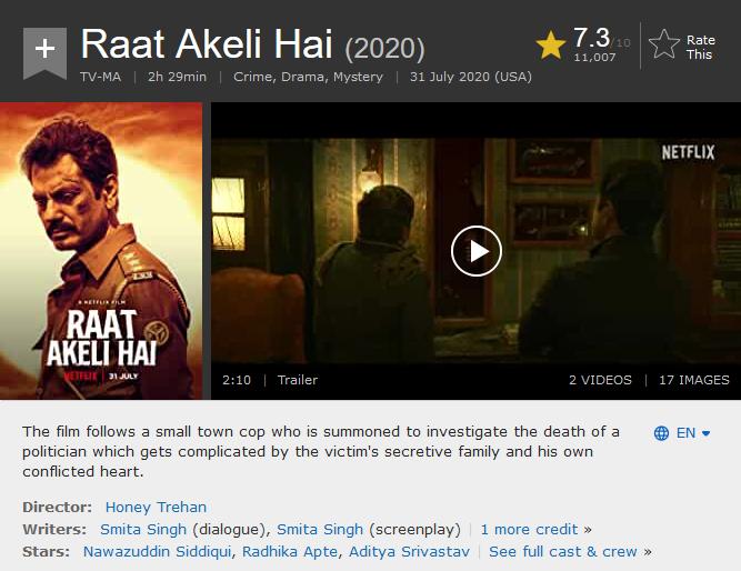 Raat Akeli Hai (2020) Download Full Movie Hindi Movie Web-DL || 480p [450MB] || 720p [1.2GB]