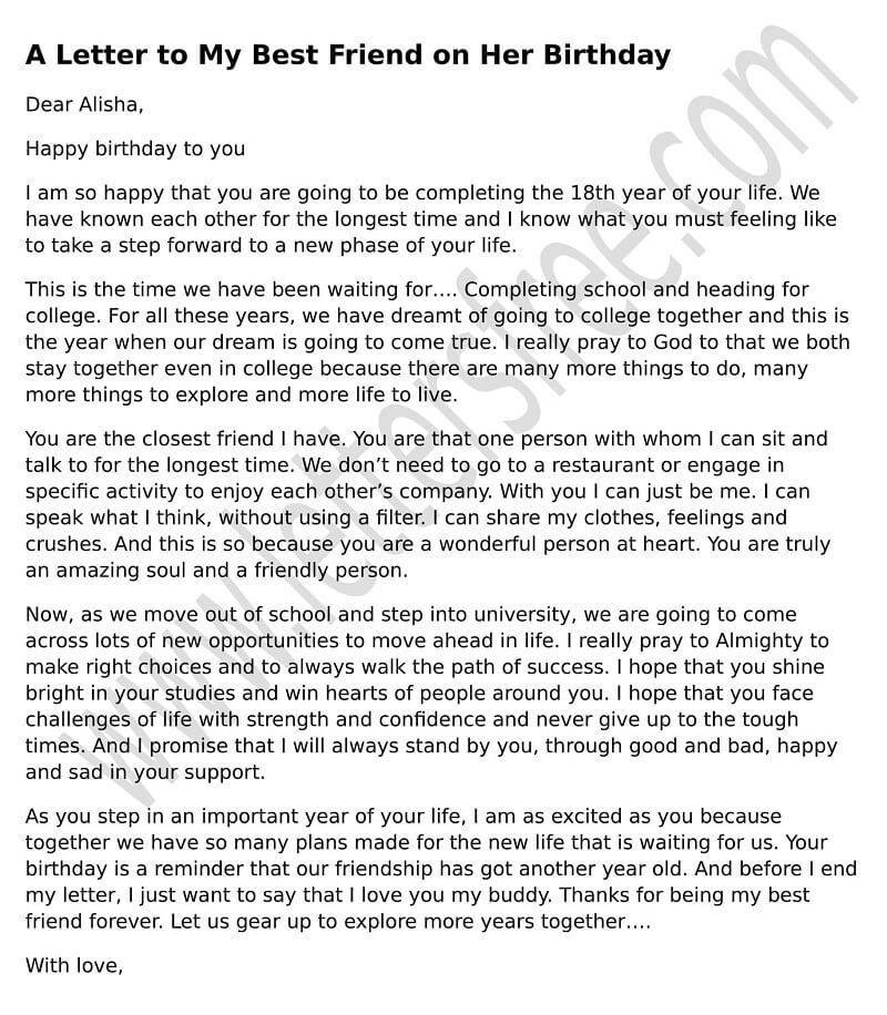 Birthday Letter To Your Best Friend Birthday Letter