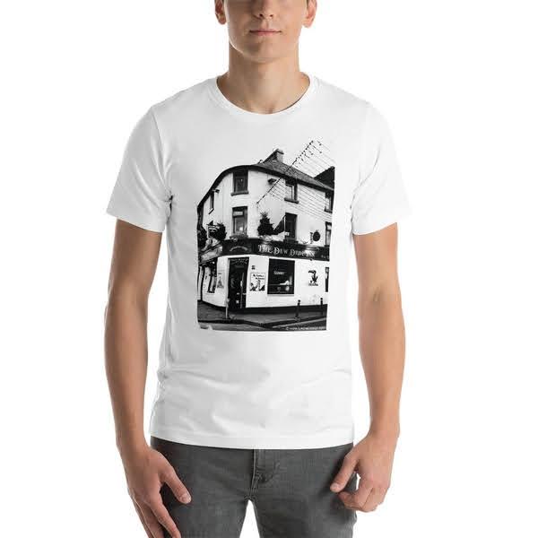 man wearing Galway souvenir memento t-shirt from the Dew Drop Inn pub