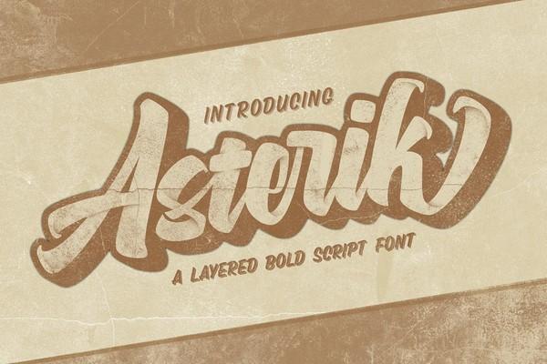 Asterik Layered Bold Script Font