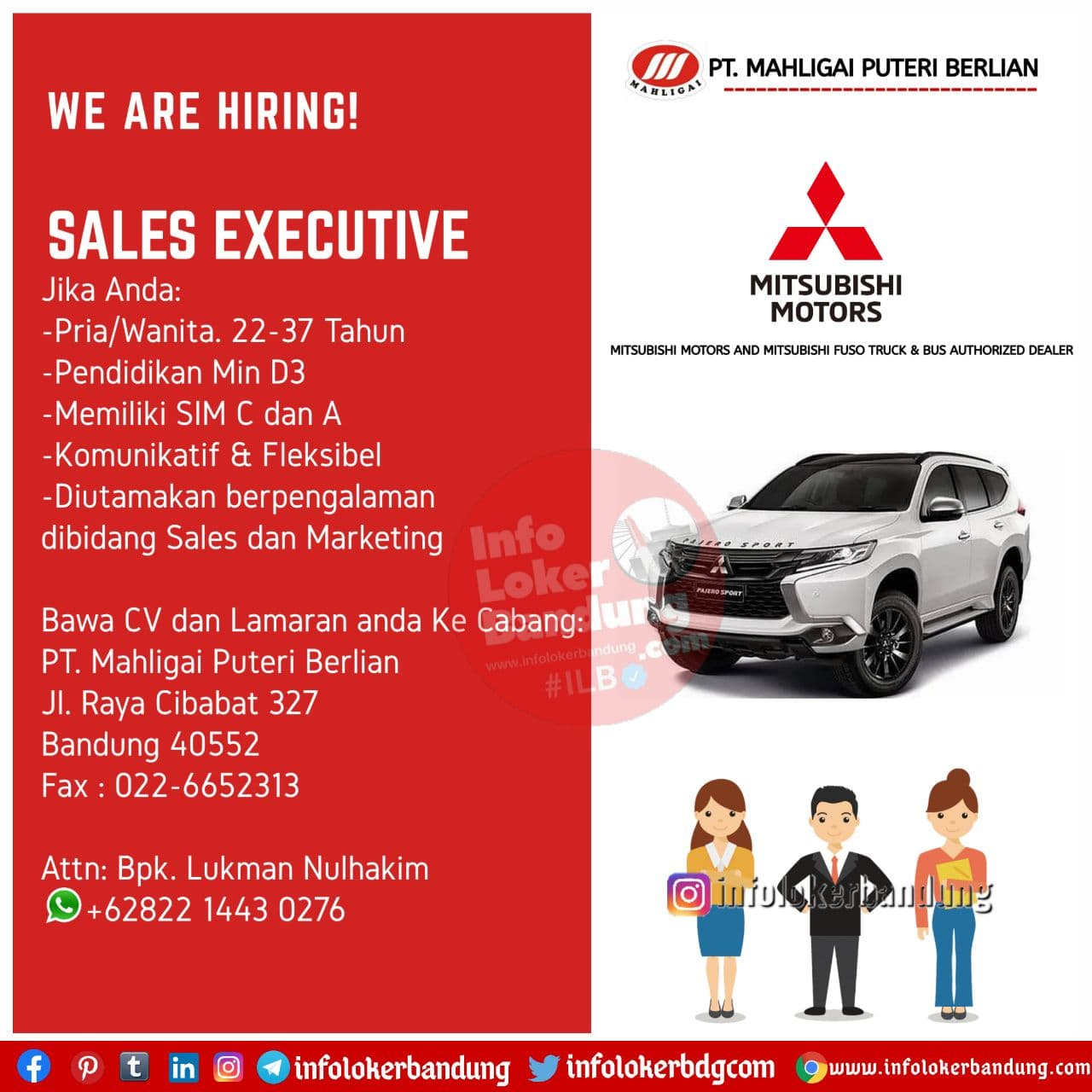 Lowongan Kerja Sales Executive PT. Mahligai Puteri Berlian ( Mitsubishi Motors ) Bandung Desember 2020