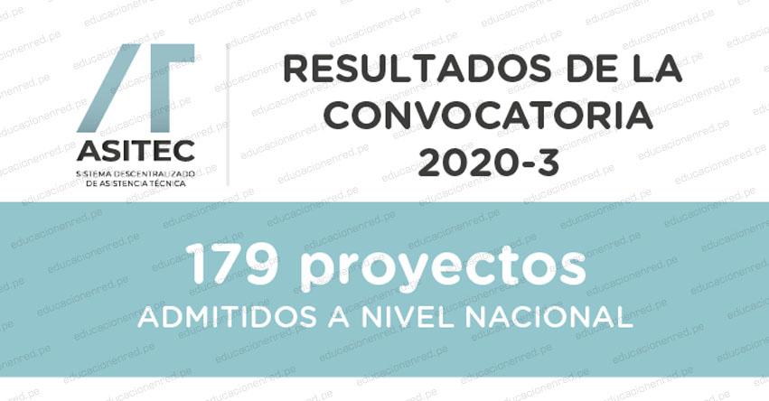 ASITEC: Resultados de la convocatoria 2020-3 - PRONIED