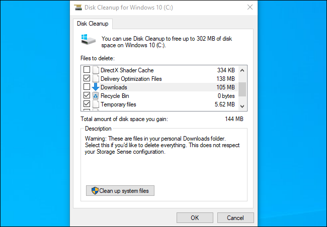 تنظيف القرص يظهر مجلد التنزيلات على تحديث Windows 10 نوفمبر 2019.
