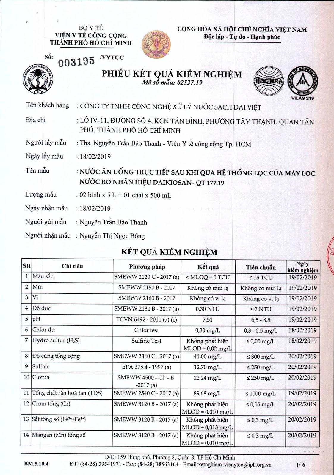 TCVN 01 2009 : Tiêu chuẩn chất lượng nước uống (109 chỉ tiêu)
