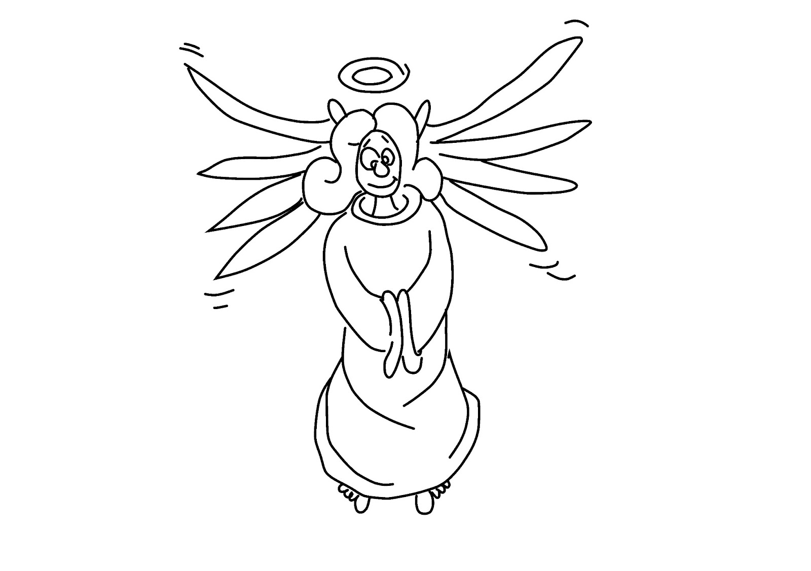 cartoon angel coloring pages | Free Pages for Coloring: Crazy old angel coloring page ...