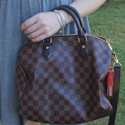 Louis Vuitton Damier Ebene 30 speedy bandouliere with bright tassel bag charm | away from the blue