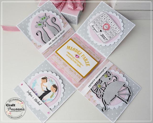 Szaro-różowy box ślubny