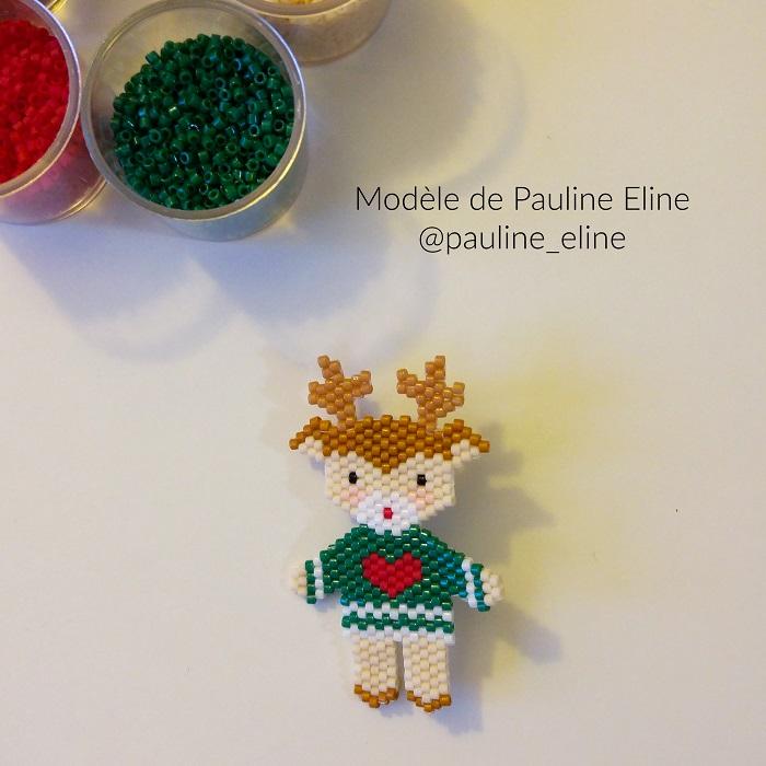 renne pull moche pauline eline, tissage brickstitch, perles delicas miyuki, hellocestmarine