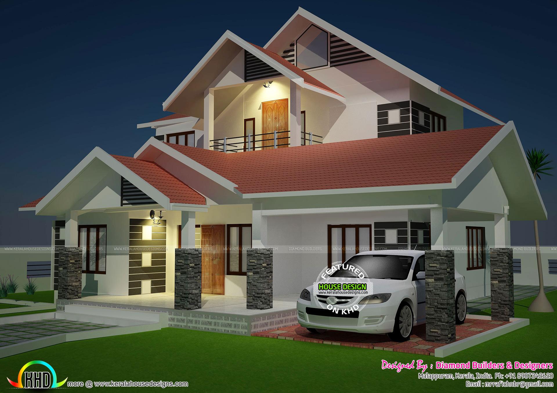 Modern sloping roof 4 bedroom home kerala home design for Slanted roof house plans
