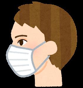 マスクを付けた人の横顔のイラスト(白人男性)