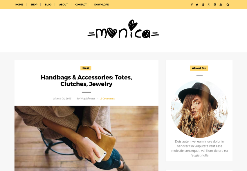Monica Clean & Responsive Blogger Template