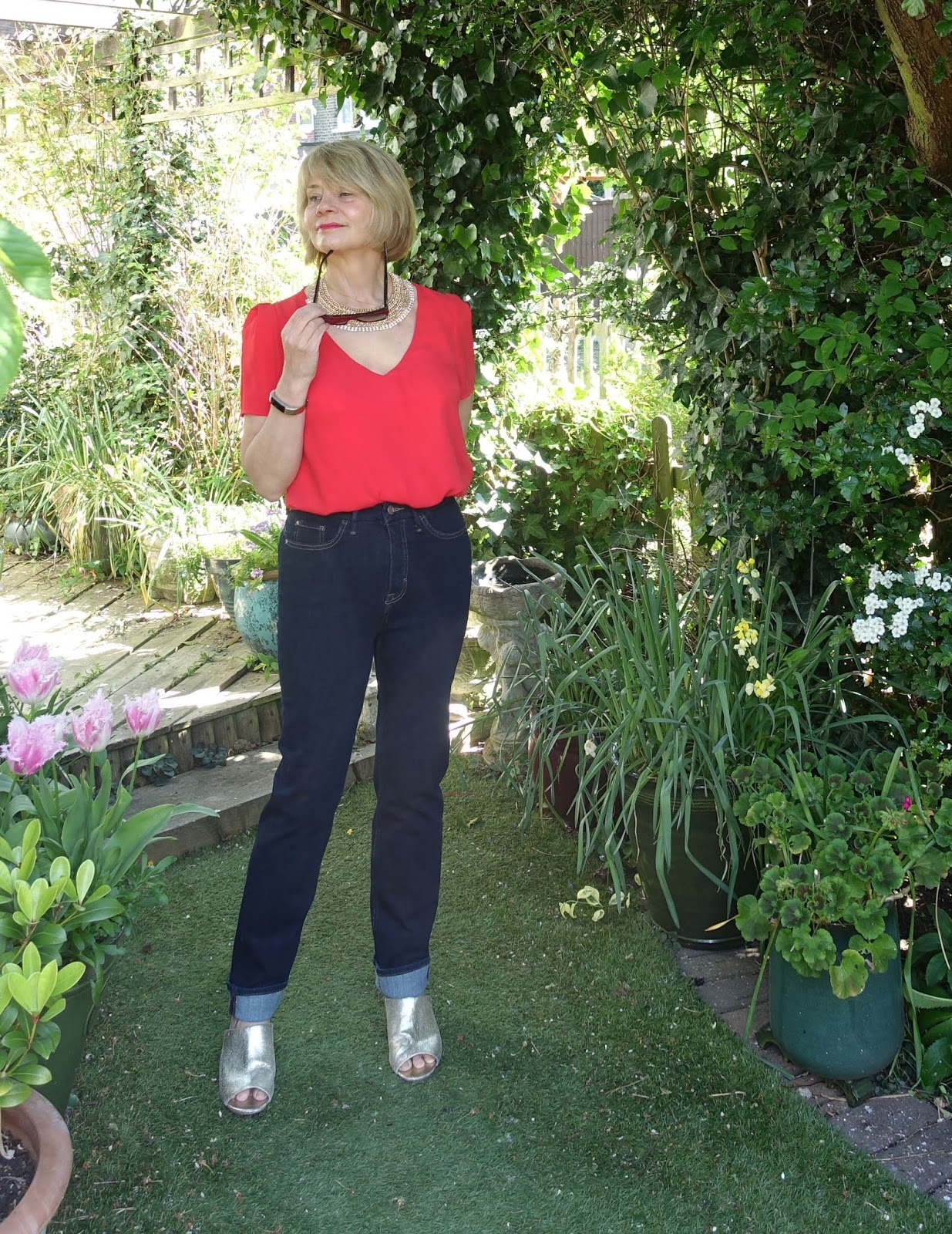 A smart casual look for Marks and Spencer indigo straight leg jeans worn by over-50s style blogger Gail Hanlon from Is This Mutton?