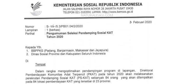 Seleksi Pendamping Sosial KAT 2020