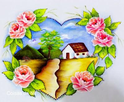 pintura em tecido paisagem com rosas