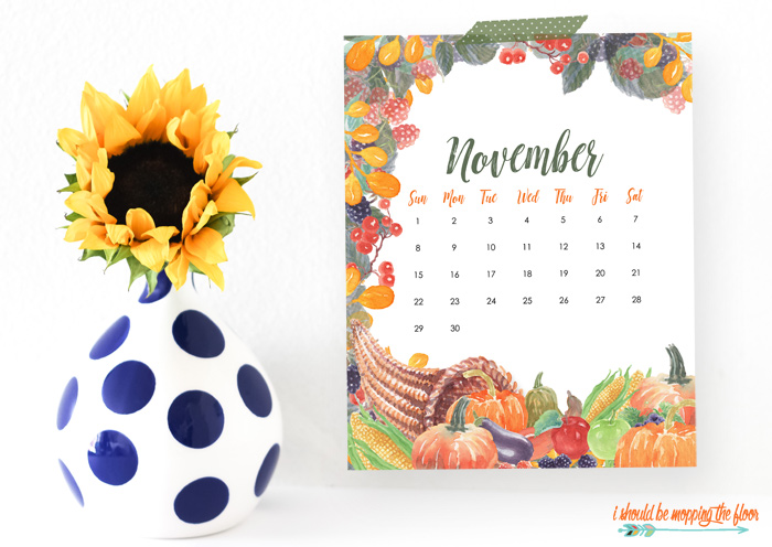 November Calendar Printables