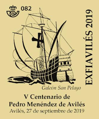 Matasellos de Exfiaviles 2019 Pedro Menéndez y galeón San Pelayo, Avilés