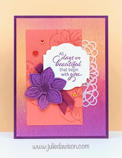 Stampin' Up! Last Chance Favorite: Floral Essence + Perennial Flower Punch Card ~ www.juliedavison.com #stampinup #lastchance