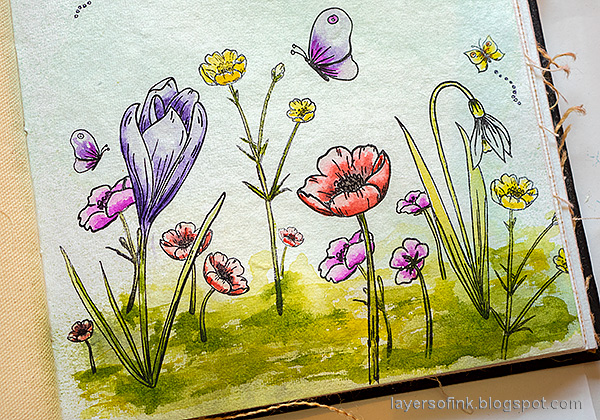 Layers of ink - Thoughtful Flowers Watercolor Garden Tutorial by Anna-Karin Evaldsson. Simon Says Stamp Thoughtful Flowers stamp set. Paint the grass.