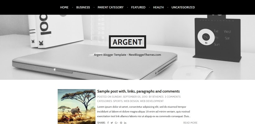 Argent Free Blogger Template