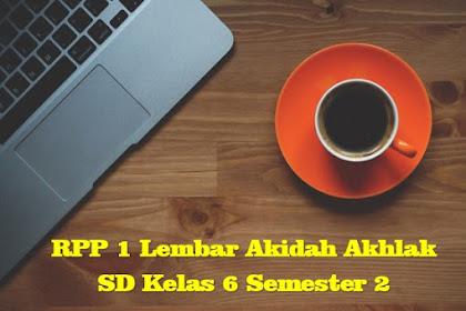 Download RPP 1 Lembar Akidah Akhlak SD Kelas 6 Semester 2 Kurikulum 2013