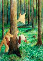 Postikortti, jossa Hulmu ja Haukku kurkkivat / Postcard where Hulmu and Haukku are looking behind a tree