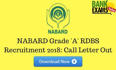 NABARD Grade 'A' RDBS Recruitment 2018: Call Letter Out