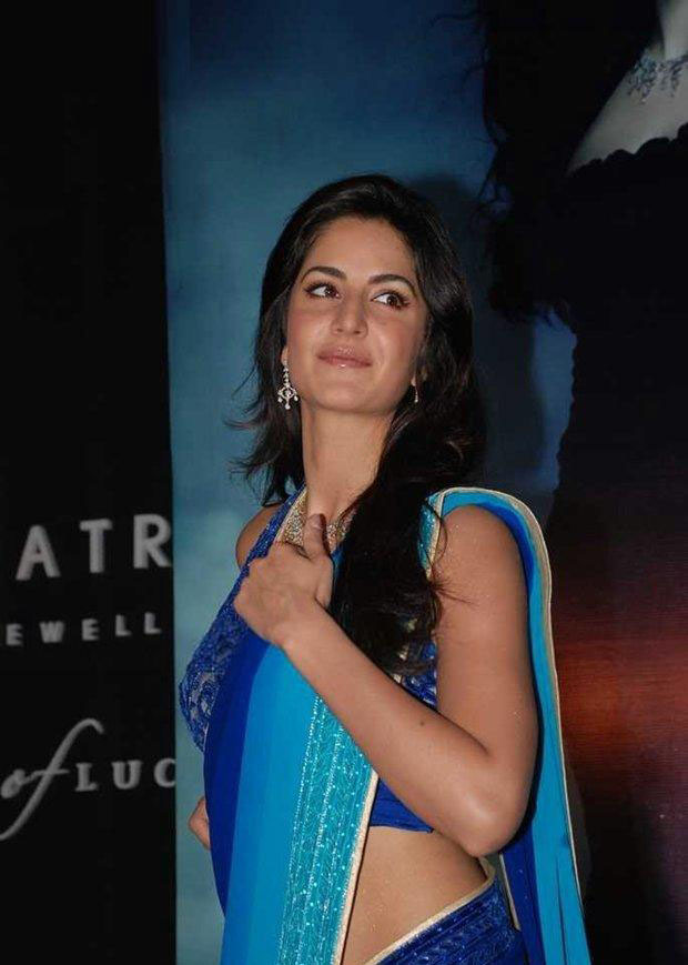 Katrina kaif Cute Stills In Blue Designer Saree