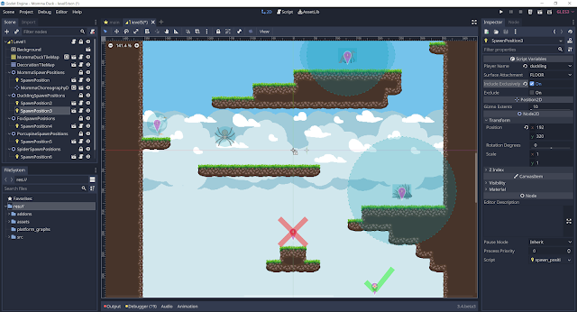 A screenshot of the Godot scene editor showing a level with a bunch of different character spawn positions.
