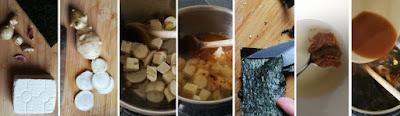 Zubereitung Misosuppe mit Topinambur, Tofu und Alge