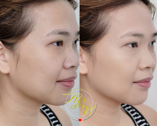 before and after photo of Estee Lauder Double Wear Stay-in-place makeup Warm Creme Askmewhats