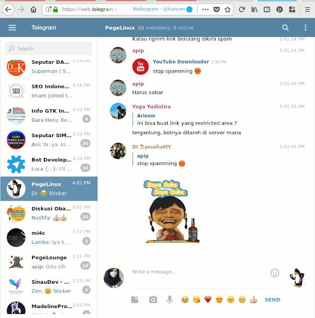 Tampilan web.telegram.org ketika dibuka dalam Firefox