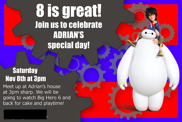 Big Hero 6 party invitation