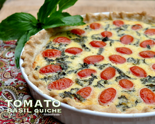Light Tomato Basil Quiche Recipe ♥ KitchenParade.com, a make-ahead, healthy, vegetarian and light quiche recipe.