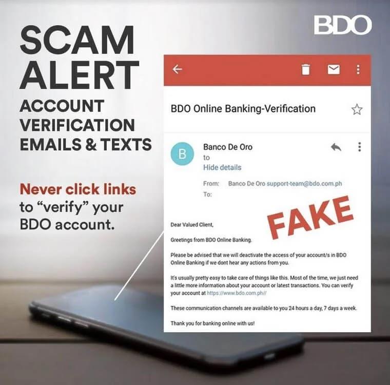 BDO reiterates fight against account verification scam