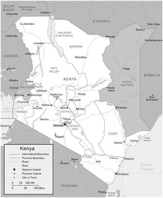 image: Black and white Kenya map
