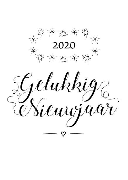 Gelukkignieuwjaar 2020 zwart wit