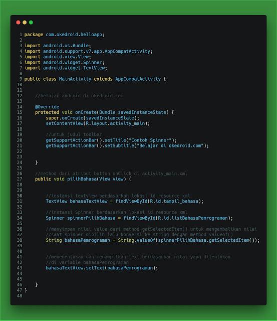 contoh code-baris menentukan memilih spinner textview aplikasi android studio