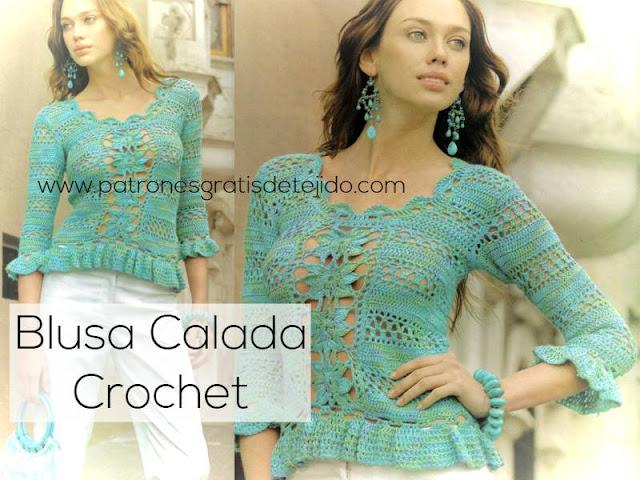 Blusa crochet con motivos calados