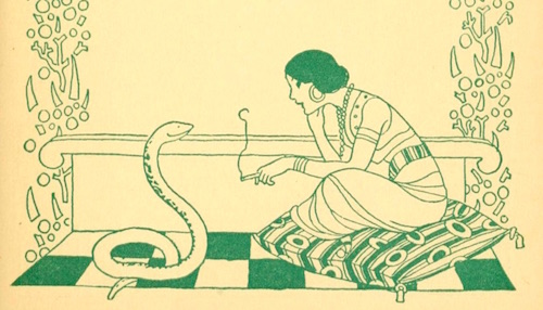 Illustration: Lady chats with snake