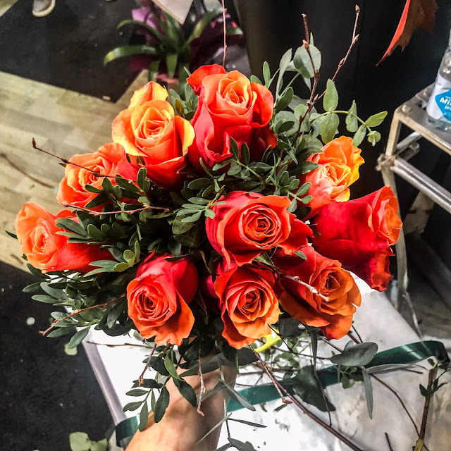 Orange roses- flower arranging in Newcastle at Katherine's Florist