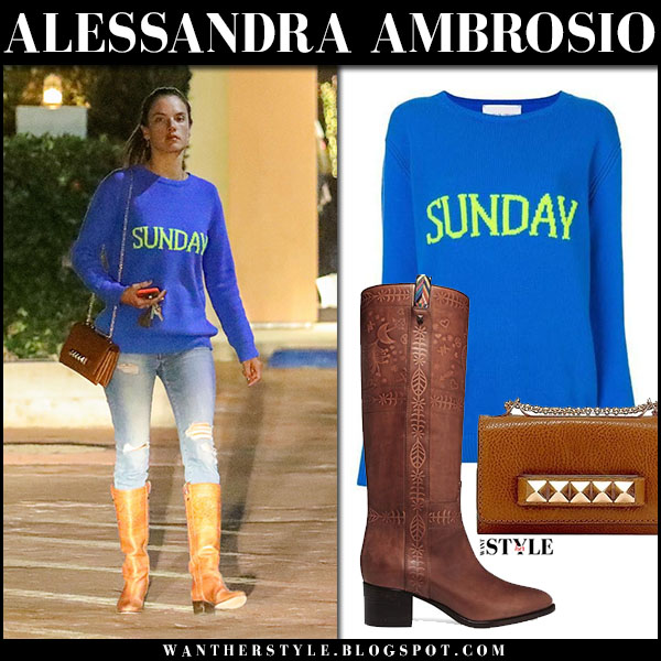 Alessandra Ambrosio in white knit sweater sunday alberta ferretti and brown leather knee boots valentino street fashion january 21