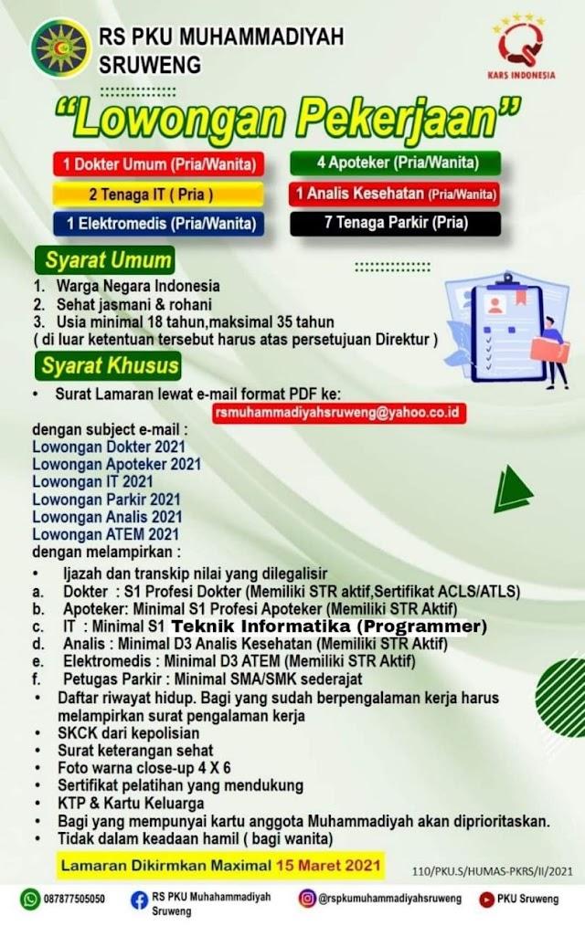 Loker Dokter RS PKU Muhammadiyah Sruweng, Kebumen, Jawa Tengah