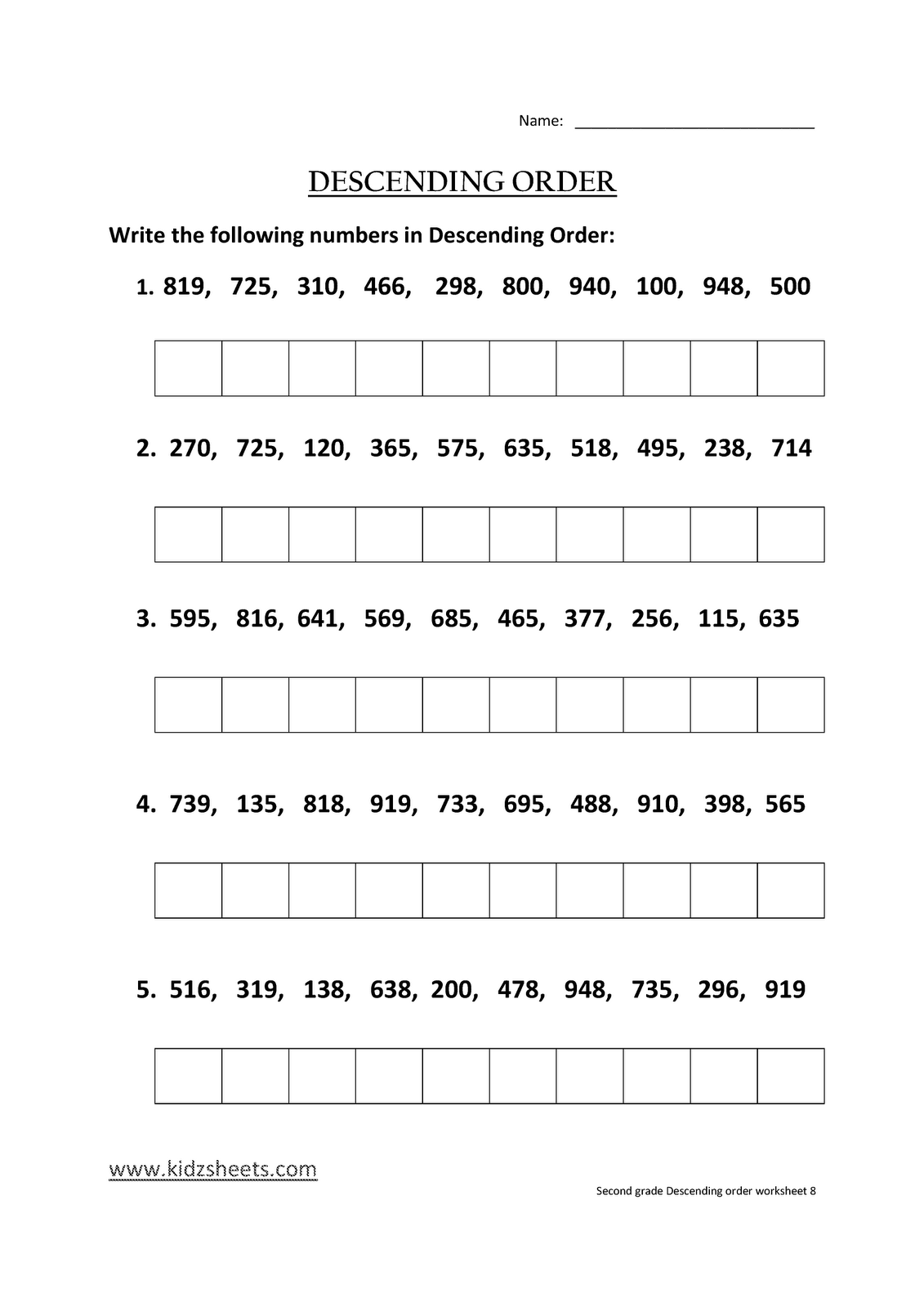 Kidz Worksheets Second Grade Descending Order Worksheet8